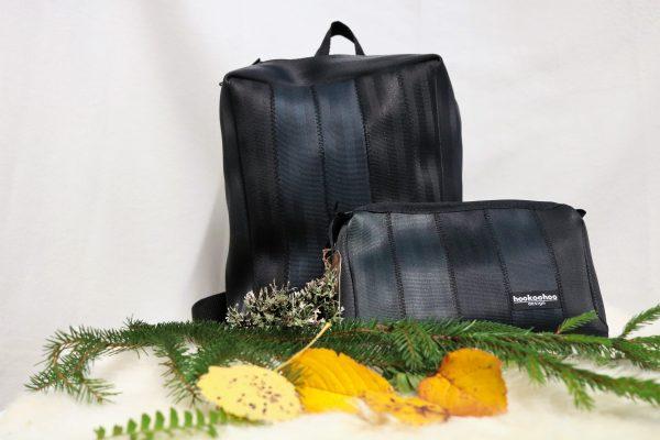 Laukkuja kierrätetyistä turvavöistä